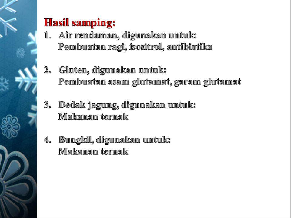 Hasil samping: Air rendaman, digunakan untuk: