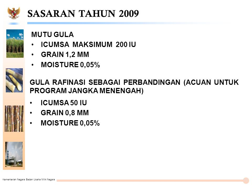 SASARAN TAHUN 2009 MUTU GULA ICUMSA MAKSIMUM 200 IU GRAIN 1,2 MM