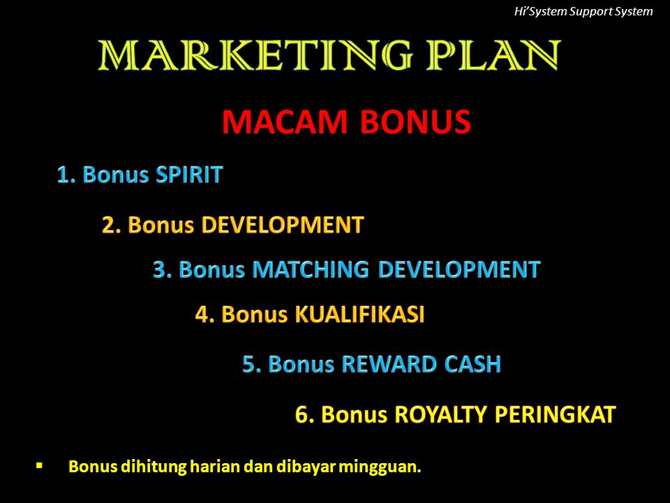 3. Bonus MATCHING DEVELOPMENT 6. Bonus ROYALTY PERINGKAT