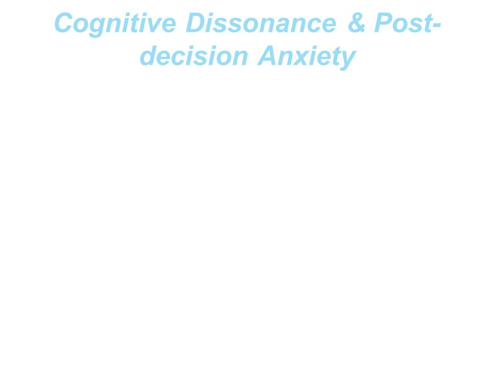 Cognitive Dissonance & Post-decision Anxiety
