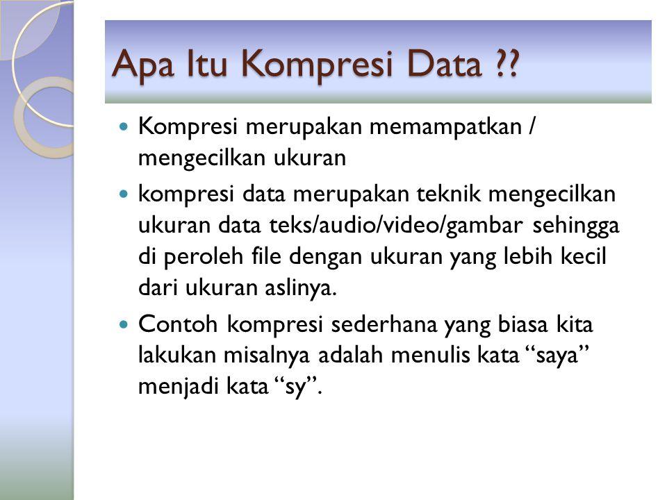 Apa Itu Kompresi Data Kompresi merupakan memampatkan / mengecilkan ukuran.