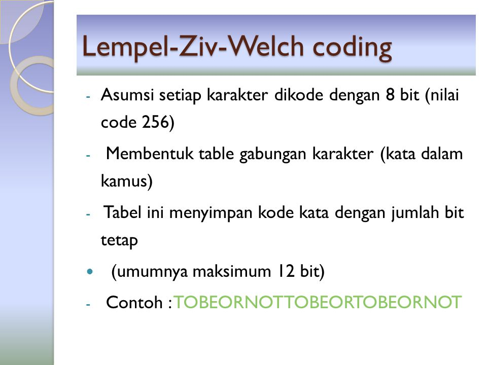 Lempel-Ziv-Welch coding