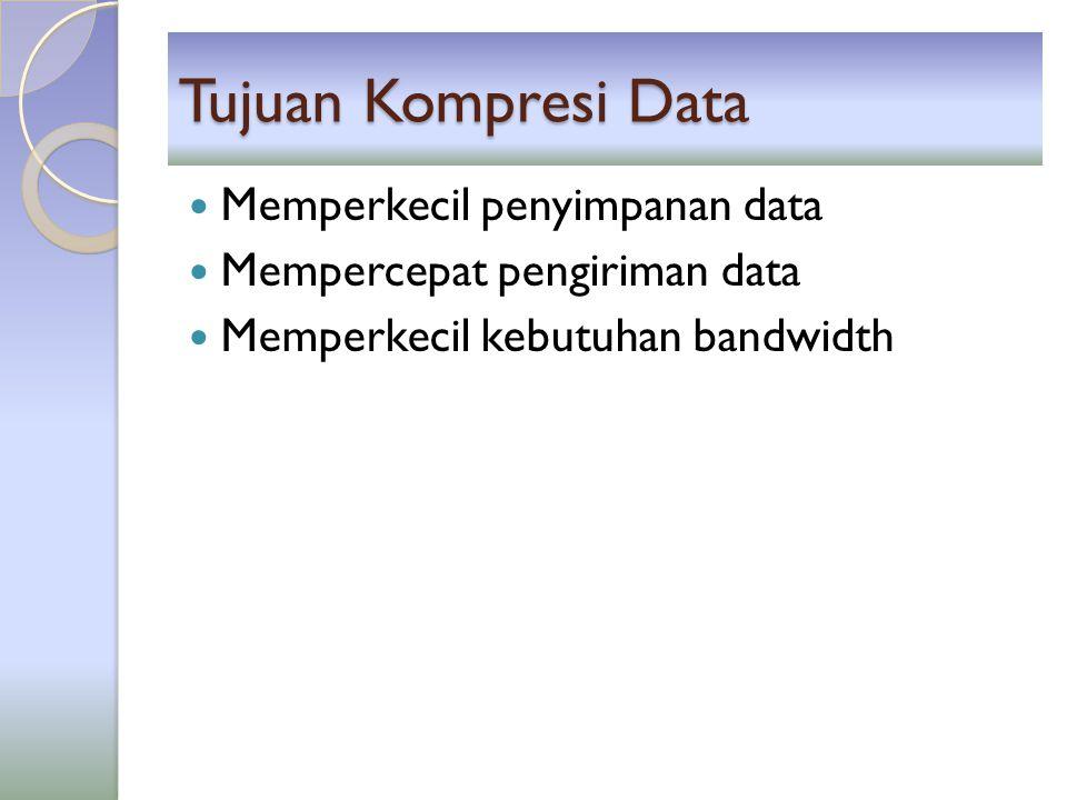 Tujuan Kompresi Data Memperkecil penyimpanan data
