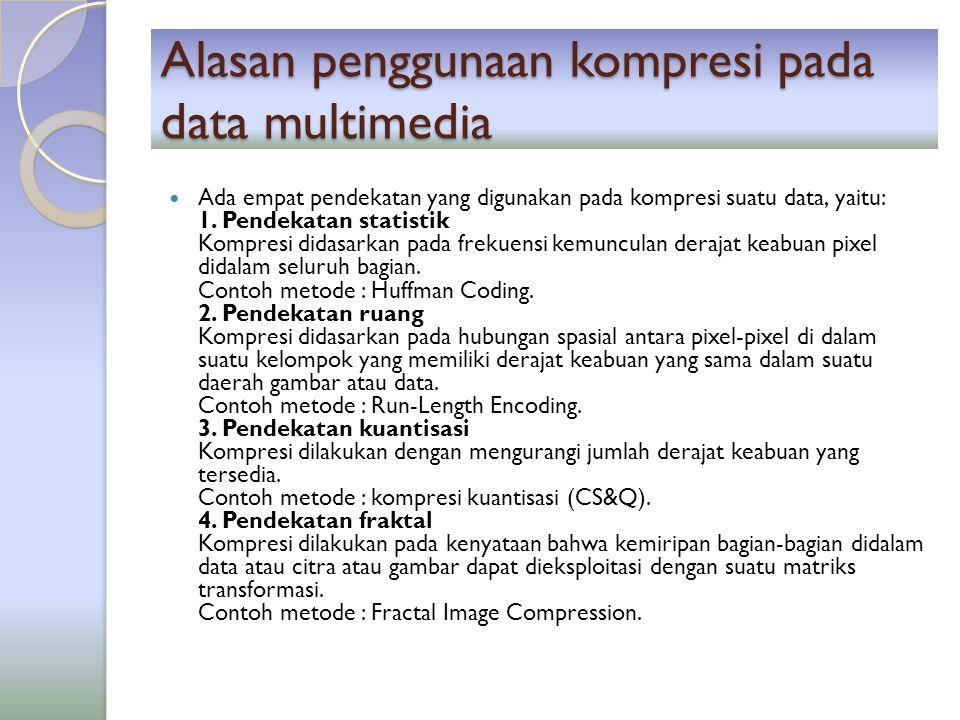 Alasan penggunaan kompresi pada data multimedia