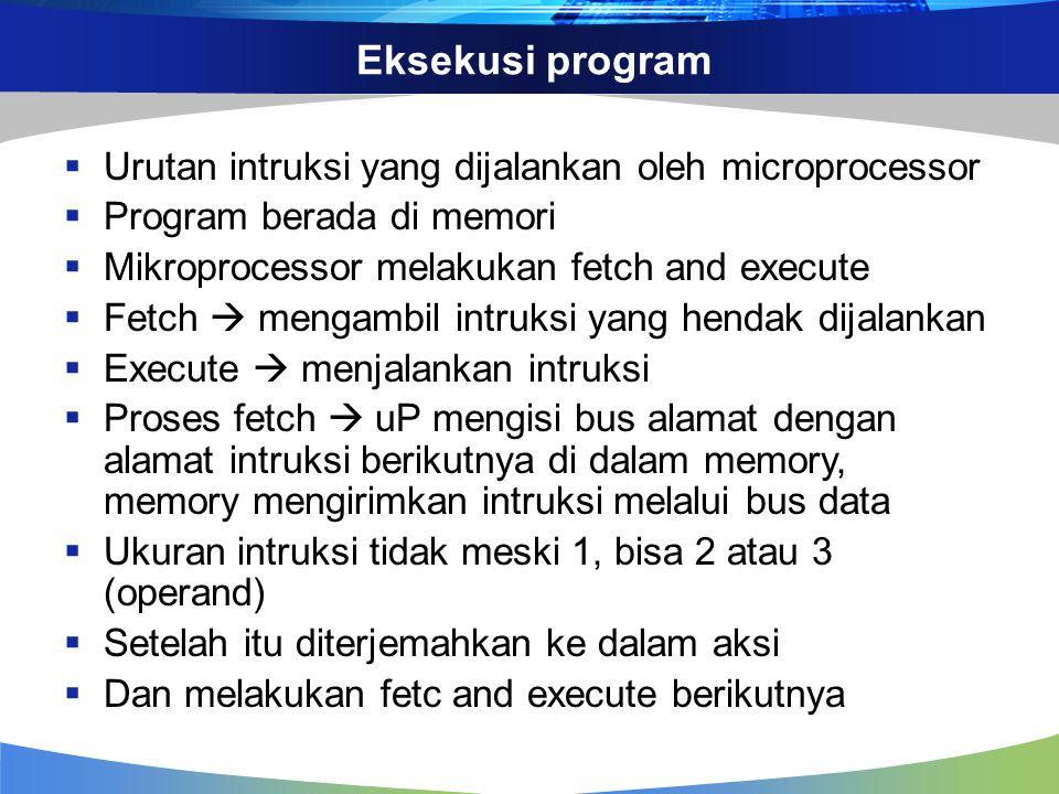 Eksekusi program Urutan intruksi yang dijalankan oleh microprocessor