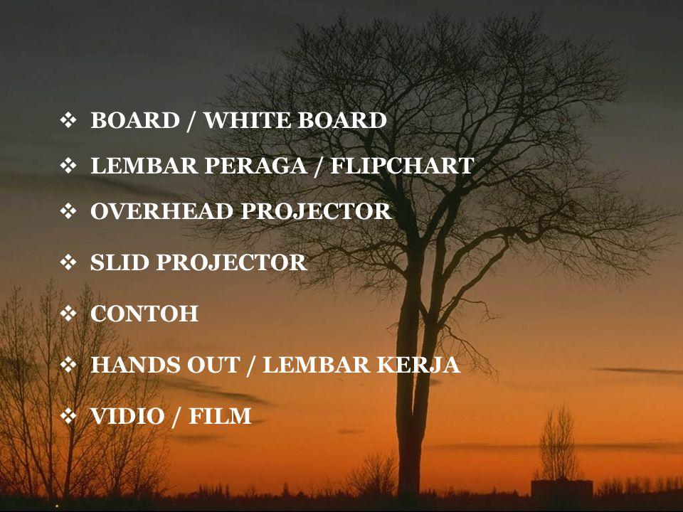 BOARD / WHITE BOARD LEMBAR PERAGA / FLIPCHART. OVERHEAD PROJECTOR. SLID PROJECTOR. CONTOH. HANDS OUT / LEMBAR KERJA.