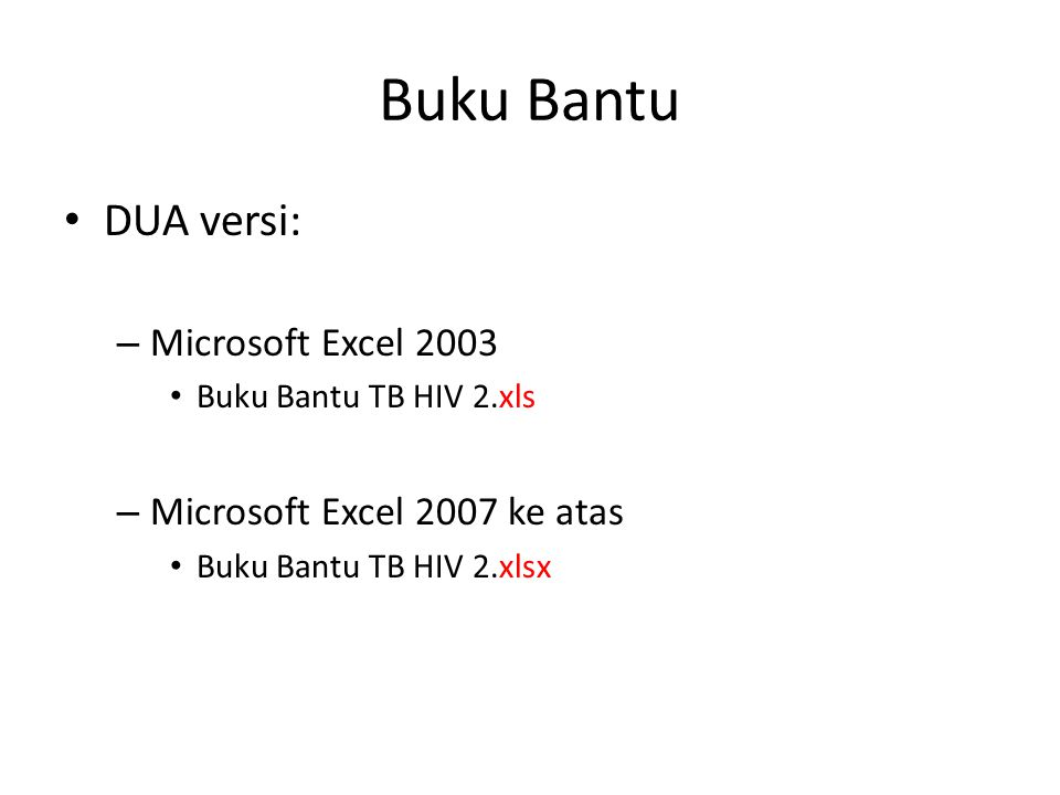 Buku Bantu DUA versi: Microsoft Excel 2003