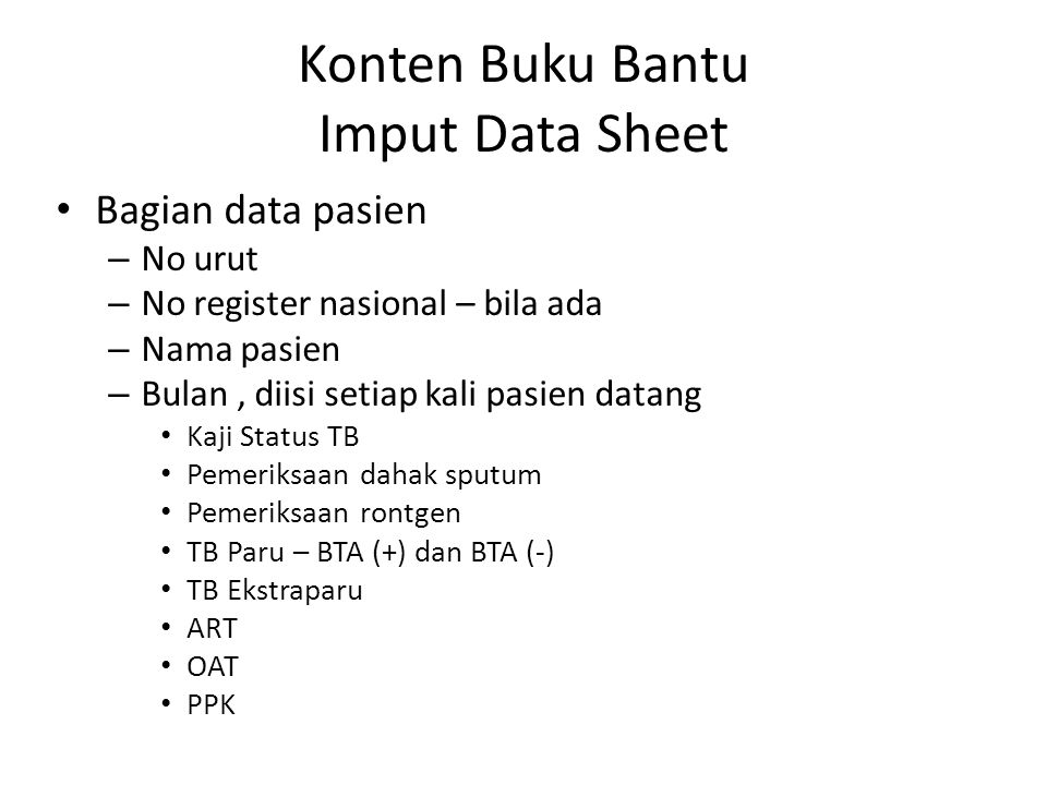 Konten Buku Bantu Imput Data Sheet