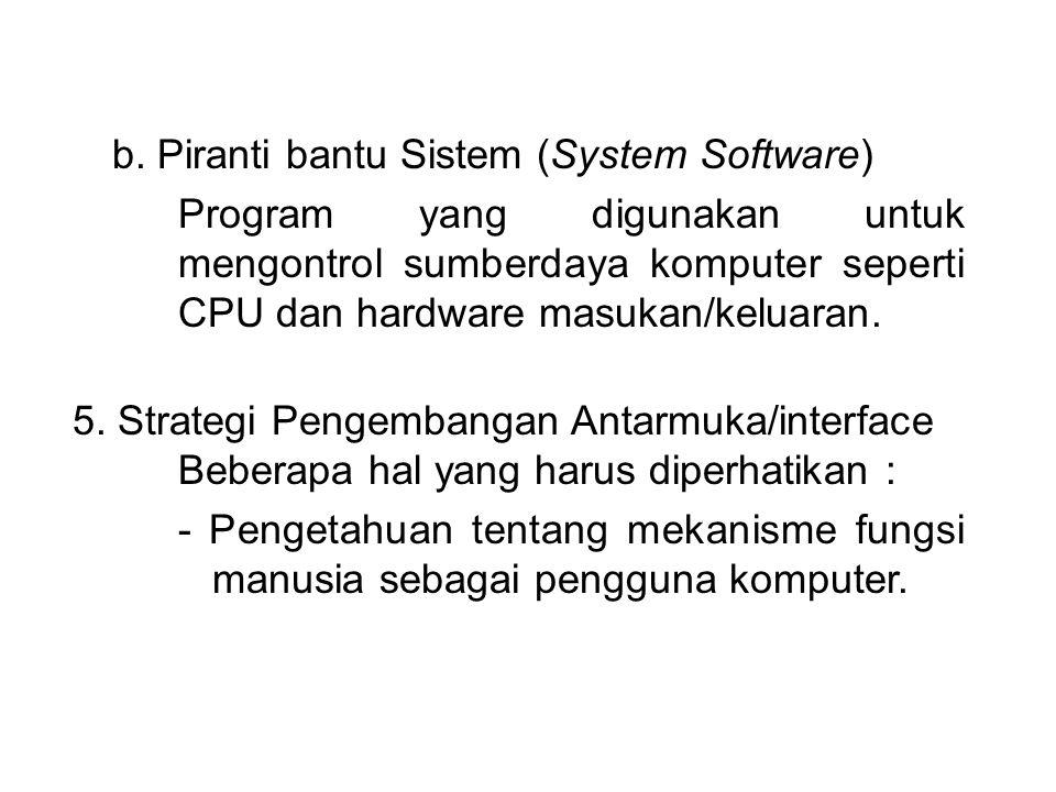 b. Piranti bantu Sistem (System Software)