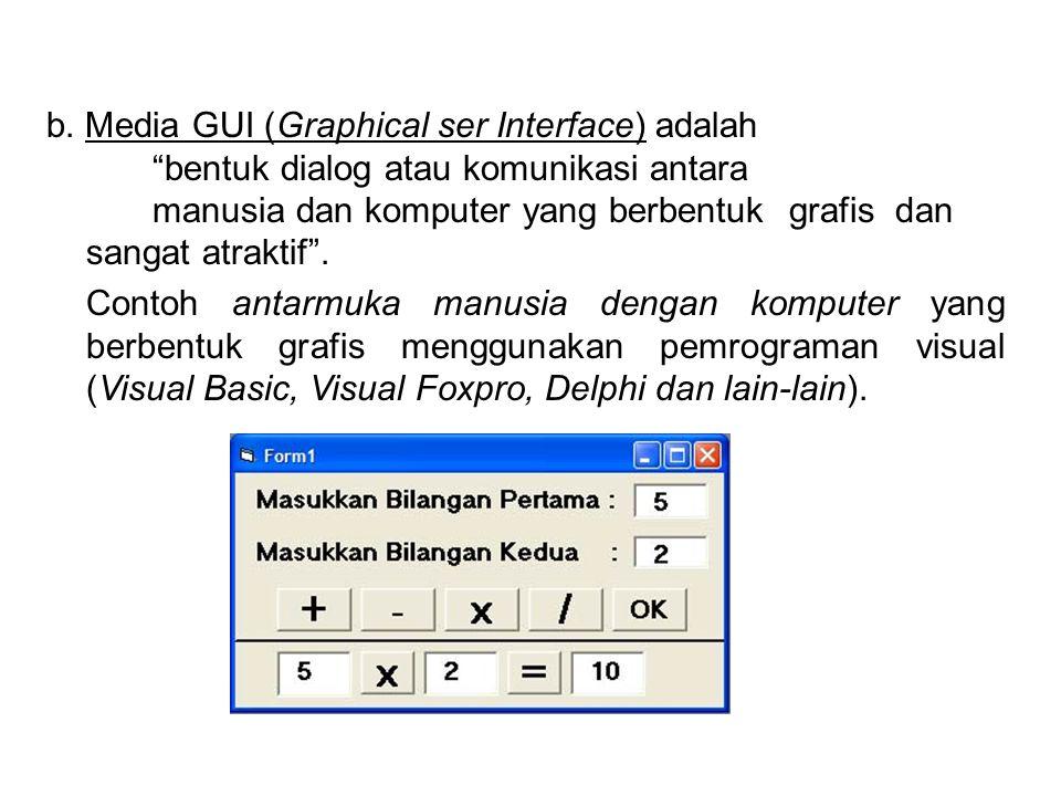b. Media GUI (Graphical ser Interface) adalah