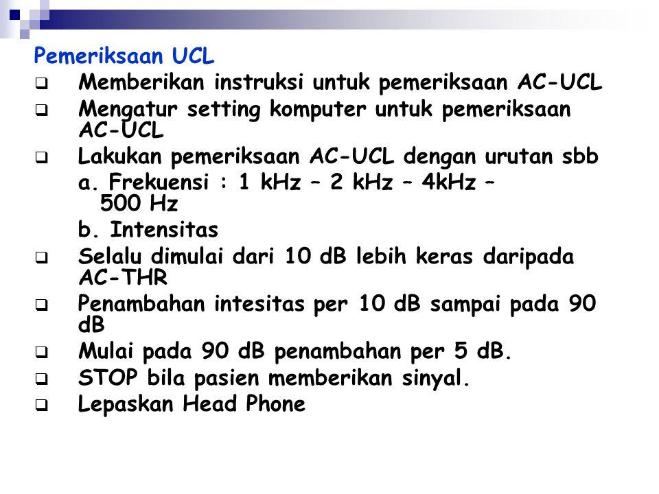Pemeriksaan UCL Memberikan instruksi untuk pemeriksaan AC-UCL. Mengatur setting komputer untuk pemeriksaan AC-UCL.