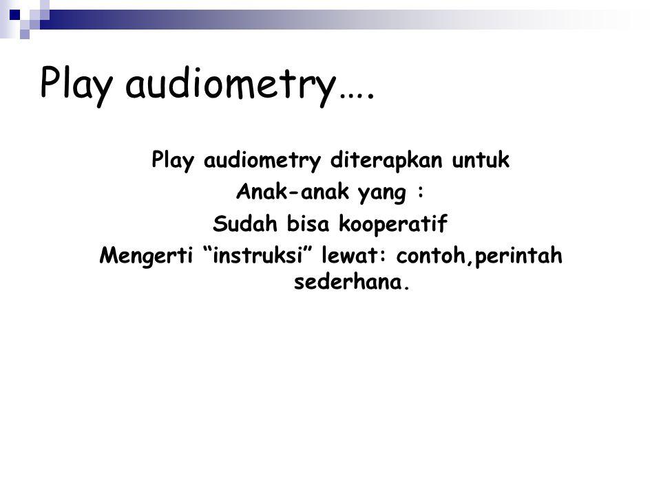 Play audiometry…. Play audiometry diterapkan untuk Anak-anak yang :