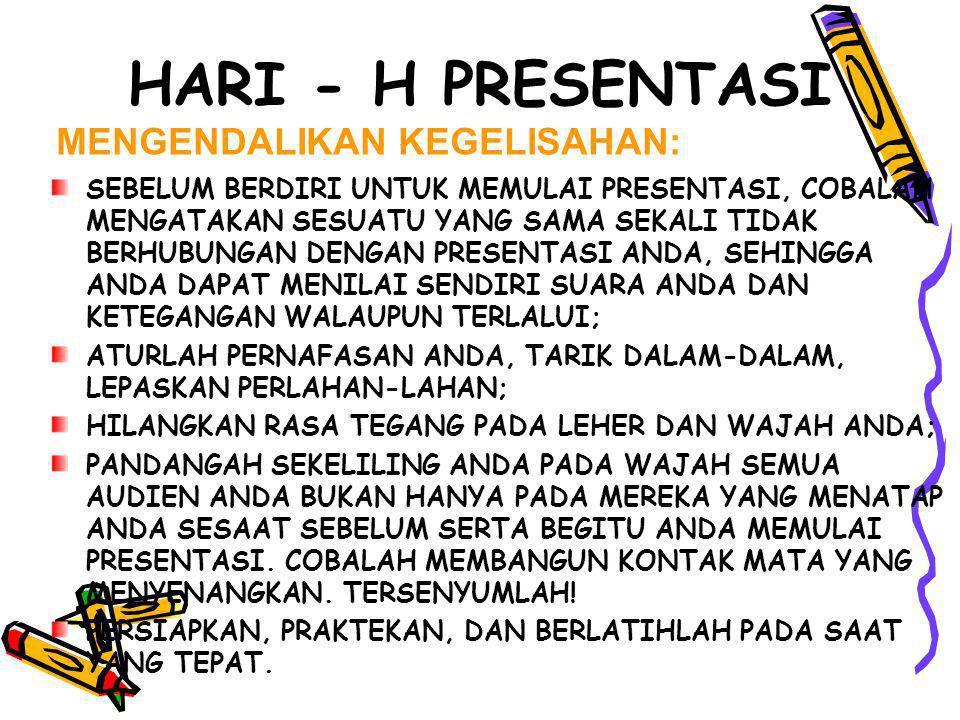 HARI - H PRESENTASI MENGENDALIKAN KEGELISAHAN: