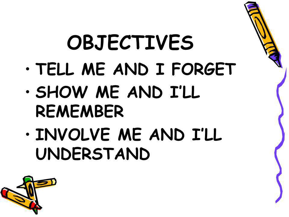 OBJECTIVES TELL ME AND I FORGET SHOW ME AND I'LL REMEMBER