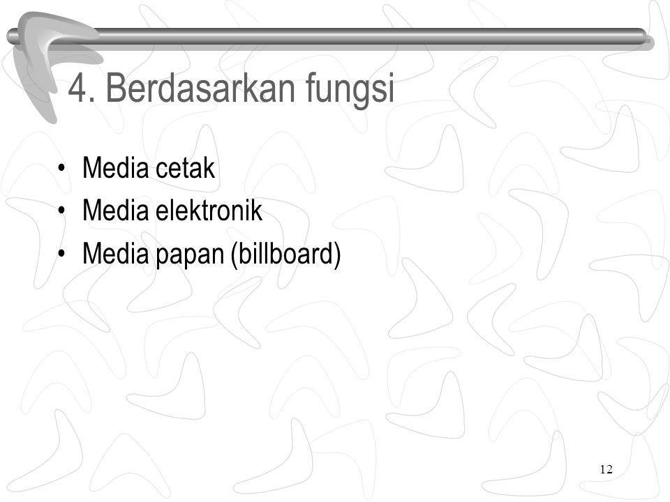 4. Berdasarkan fungsi Media cetak Media elektronik