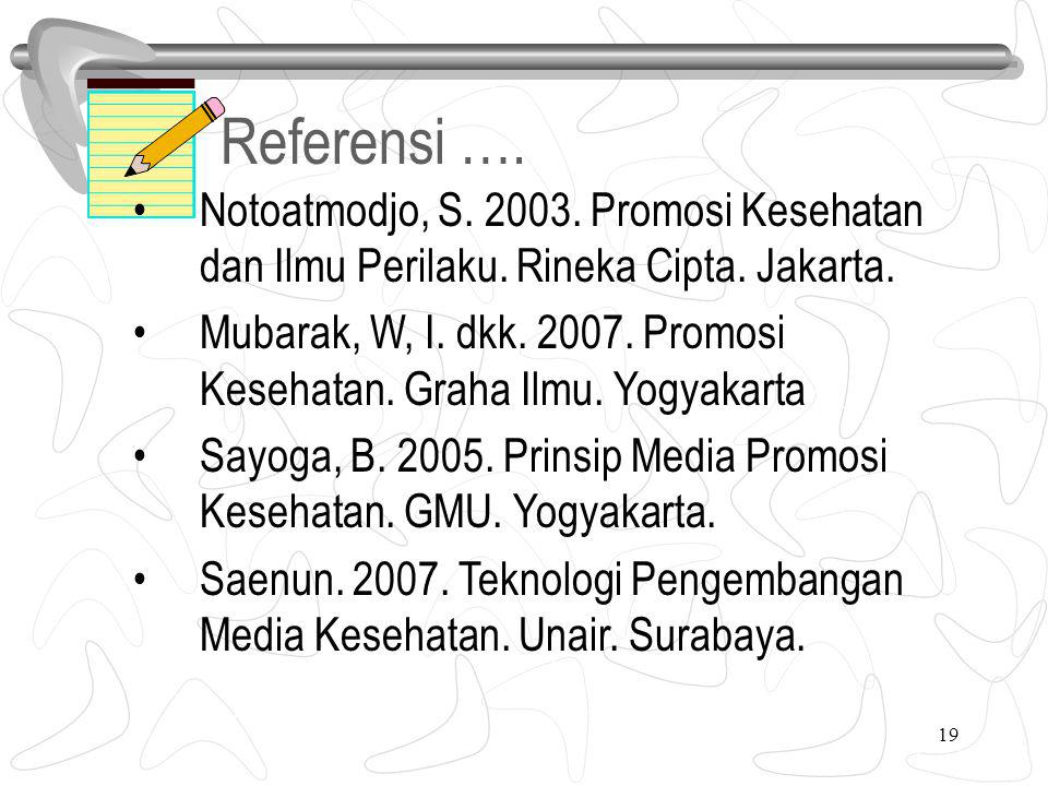 Referensi …. 6. Notoatmodjo, S. 2003. Promosi Kesehatan dan Ilmu Perilaku. Rineka Cipta. Jakarta.
