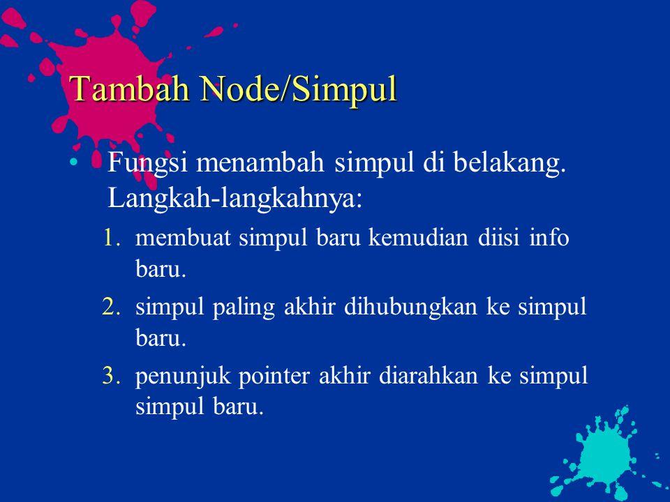 Tambah Node/Simpul Fungsi menambah simpul di belakang. Langkah-langkahnya: membuat simpul baru kemudian diisi info baru.