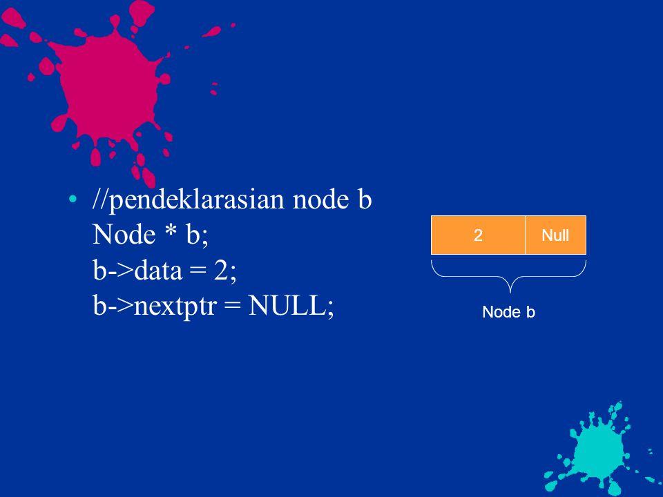 //pendeklarasian node b Node * b; b->data = 2; b->nextptr = NULL;