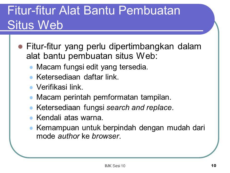 Fitur-fitur Alat Bantu Pembuatan Situs Web