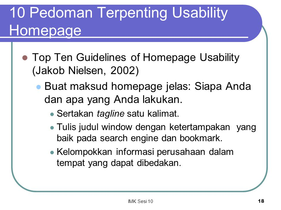 10 Pedoman Terpenting Usability Homepage