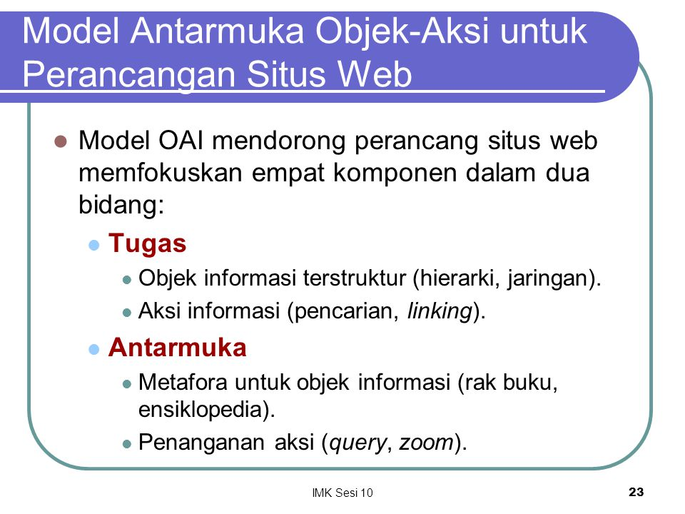 Model Antarmuka Objek-Aksi untuk Perancangan Situs Web