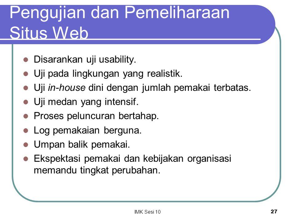 Pengujian dan Pemeliharaan Situs Web