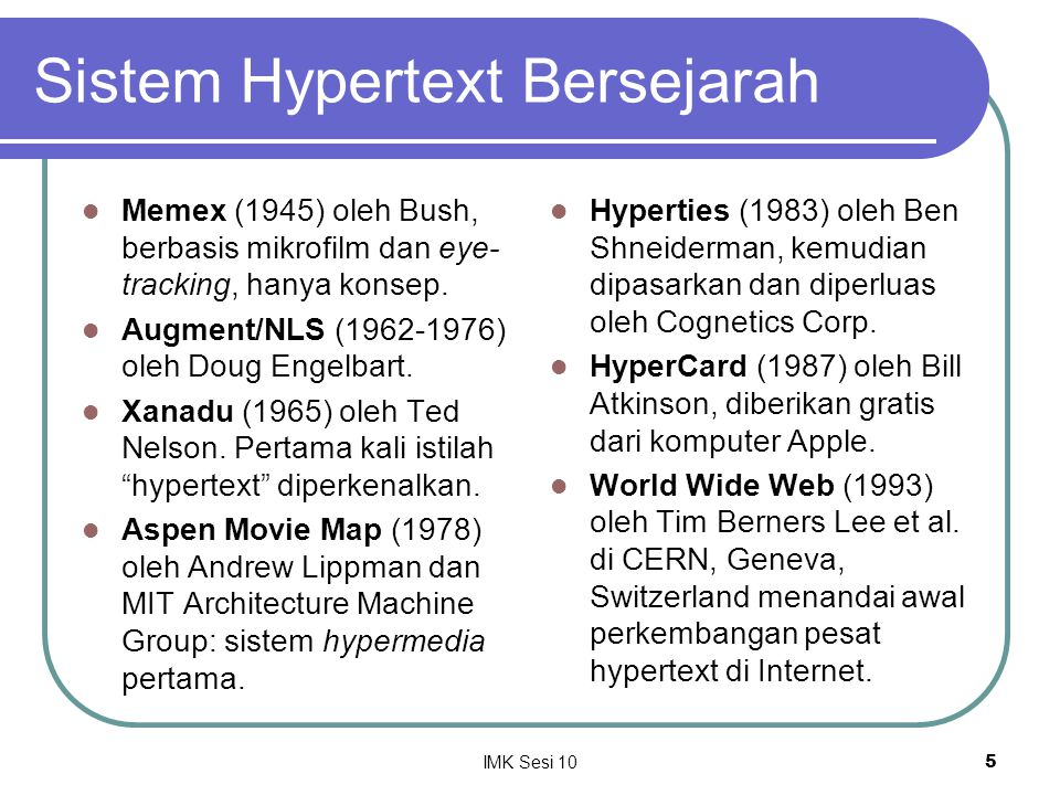 Sistem Hypertext Bersejarah