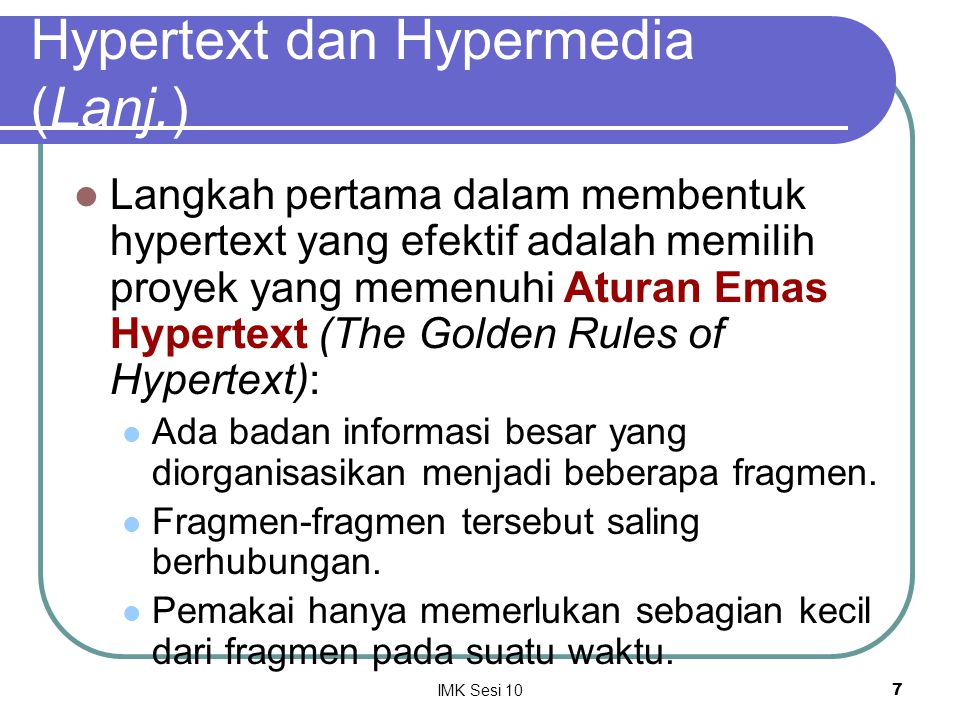 Hypertext dan Hypermedia (Lanj.)