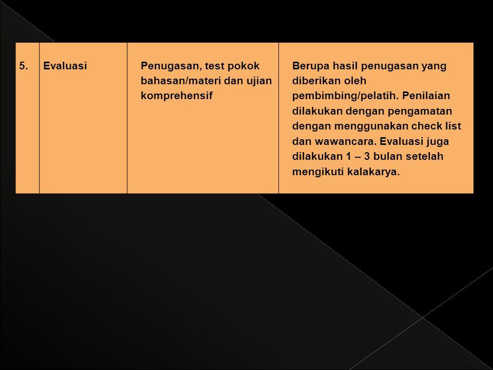 5. Evaluasi. Penugasan, test pokok bahasan/materi dan ujian komprehensif.