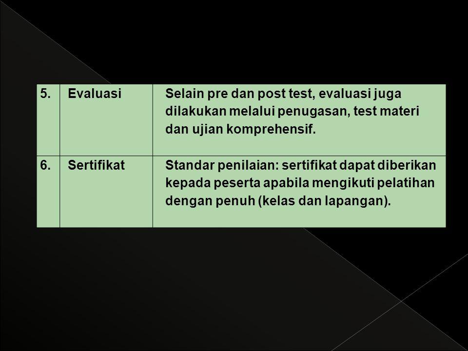 5. Evaluasi. Selain pre dan post test, evaluasi juga dilakukan melalui penugasan, test materi dan ujian komprehensif.