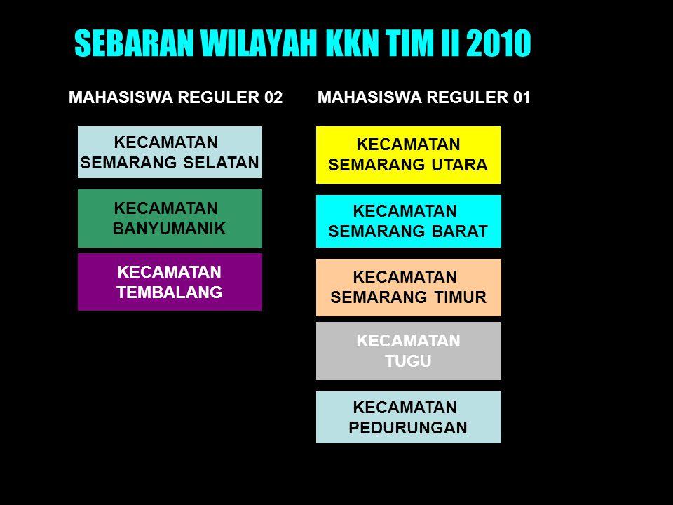 SEBARAN WILAYAH KKN TIM II 2010