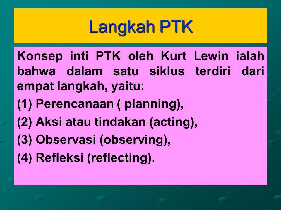 Langkah PTK Konsep inti PTK oleh Kurt Lewin ialah bahwa dalam satu siklus terdiri dari empat langkah, yaitu:
