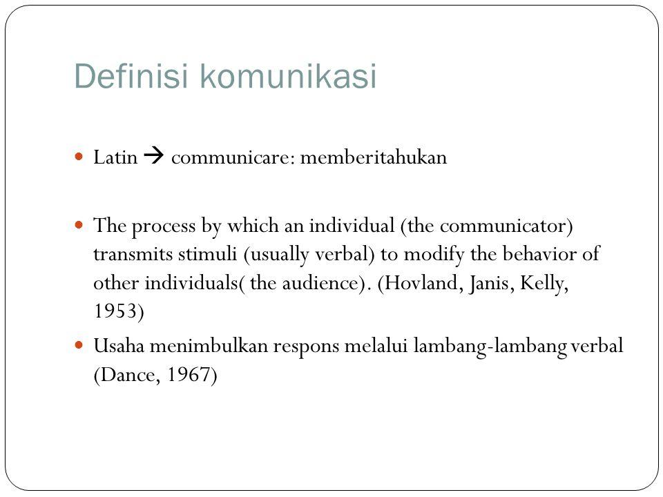 Definisi komunikasi Latin  communicare: memberitahukan