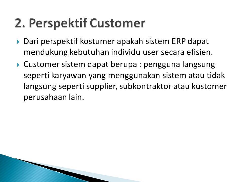 2. Perspektif Customer Dari perspektif kostumer apakah sistem ERP dapat mendukung kebutuhan individu user secara efisien.
