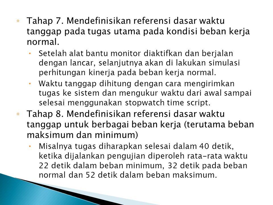 Tahap 7. Mendefinisikan referensi dasar waktu tanggap pada tugas utama pada kondisi beban kerja normal.