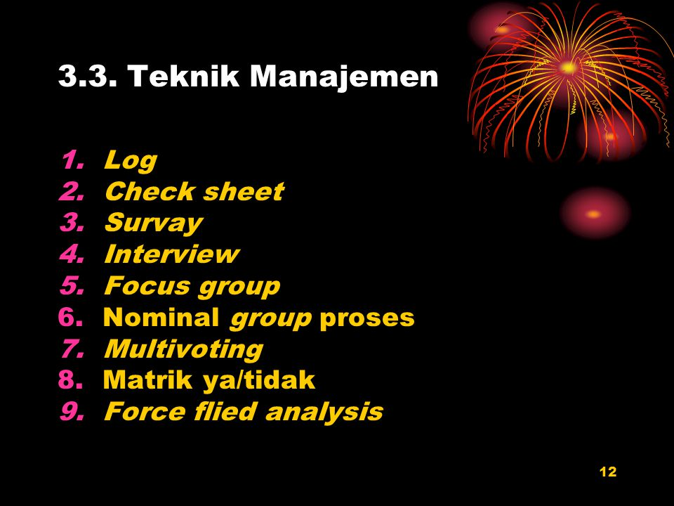 3.3. Teknik Manajemen Log Check sheet Survay Interview Focus group