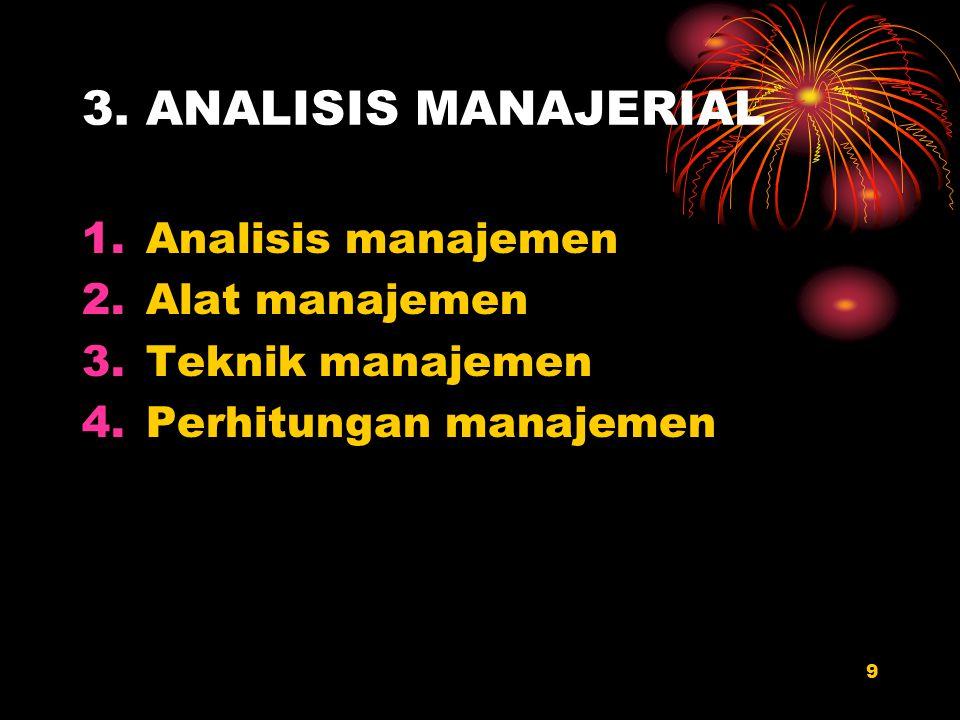 3. ANALISIS MANAJERIAL Analisis manajemen Alat manajemen