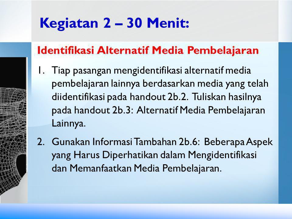 Kegiatan 2 – 30 Menit: Identifikasi Alternatif Media Pembelajaran