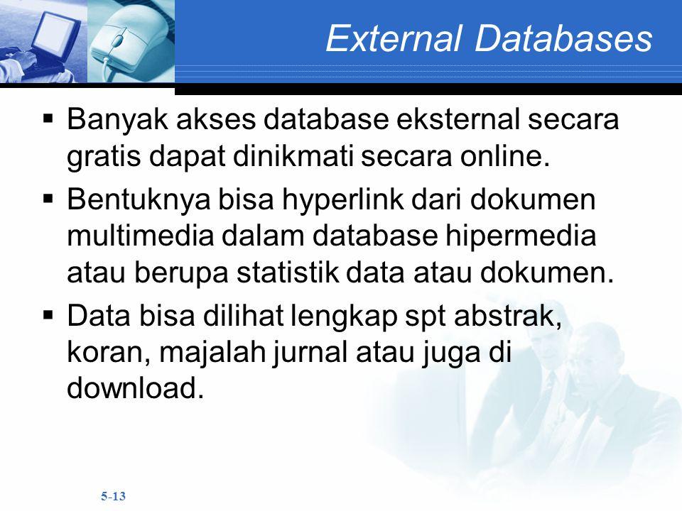 External Databases Banyak akses database eksternal secara gratis dapat dinikmati secara online.