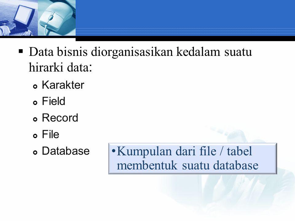 Data bisnis diorganisasikan kedalam suatu hirarki data: