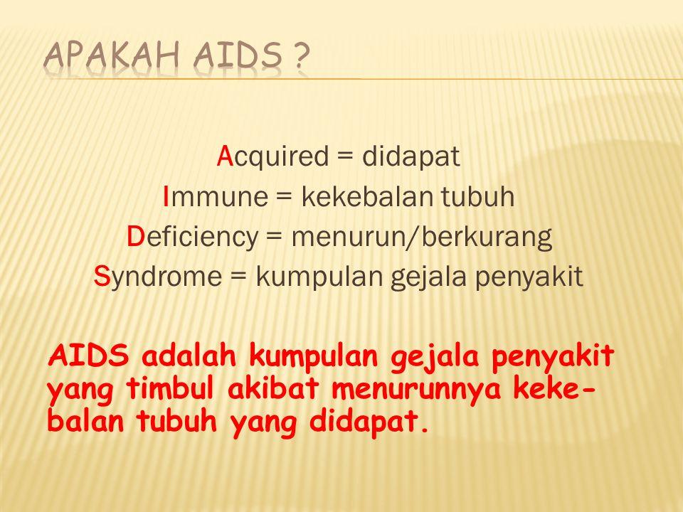 Apakah AIDS Acquired = didapat Immune = kekebalan tubuh