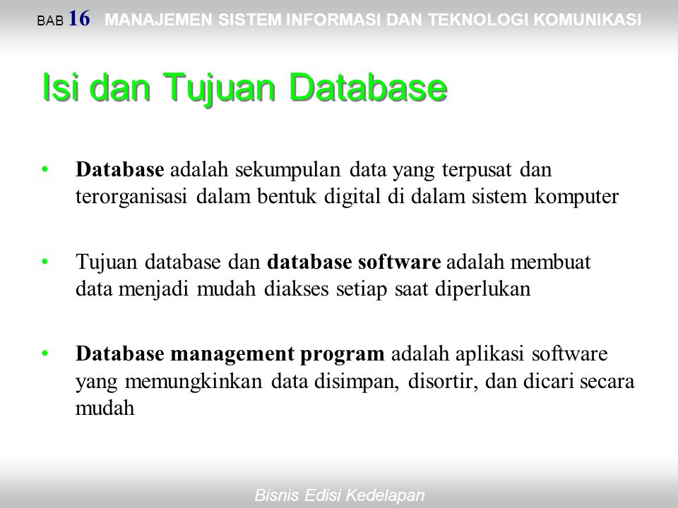 Isi dan Tujuan Database