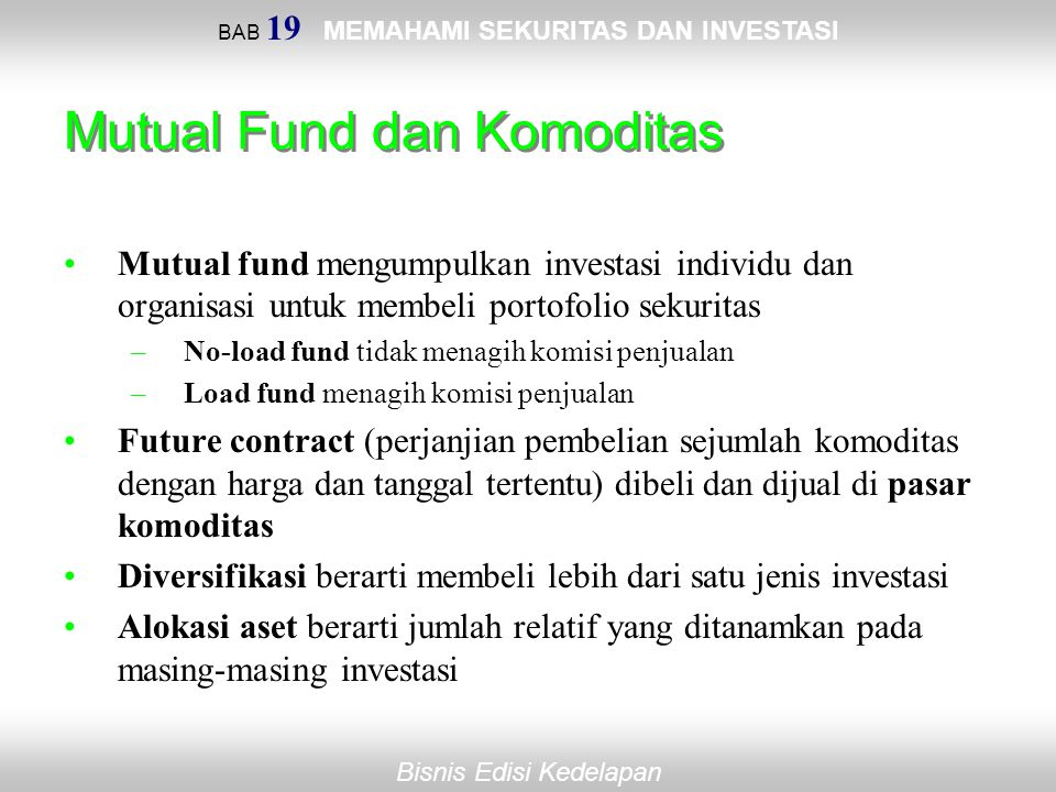 Mutual Fund dan Komoditas