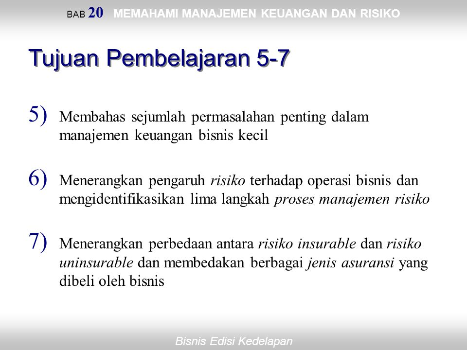 BAB 20 MEMAHAMI MANAJEMEN KEUANGAN DAN RISIKO
