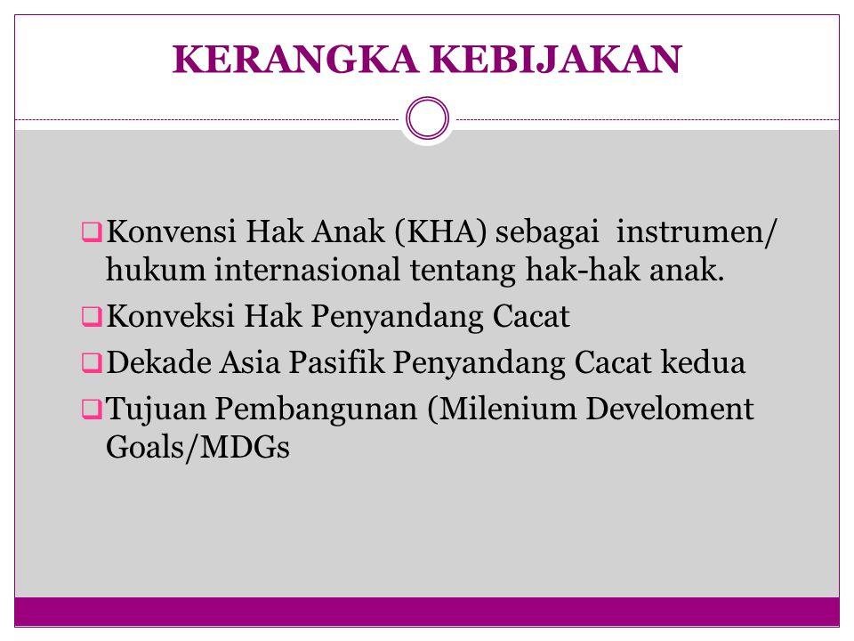 KERANGKA KEBIJAKAN Konvensi Hak Anak (KHA) sebagai instrumen/ hukum internasional tentang hak-hak anak.