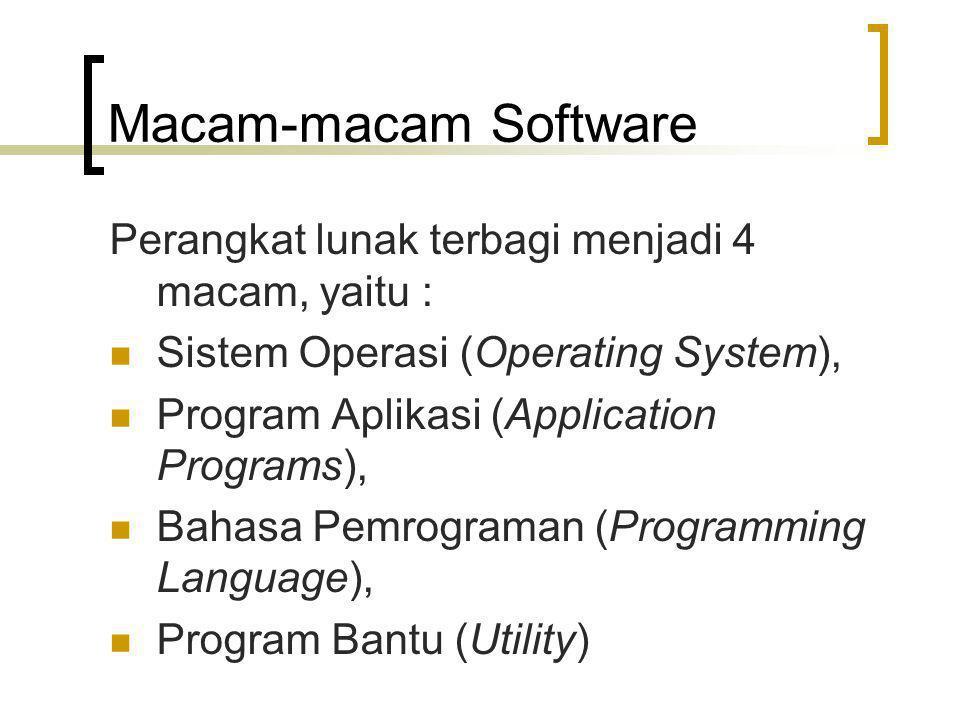 Macam-macam Software Perangkat lunak terbagi menjadi 4 macam, yaitu :