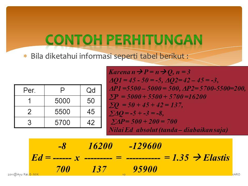 Contoh perhitungan Bila diketahui informasi seperti tabel berikut : Karena n P = n Q, n = 3. Q1 = 45 - 50 = -5, Q2= 42 – 45 = -3,