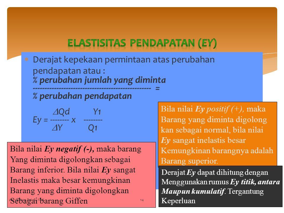 Elastisitas Pendapatan (Ey)