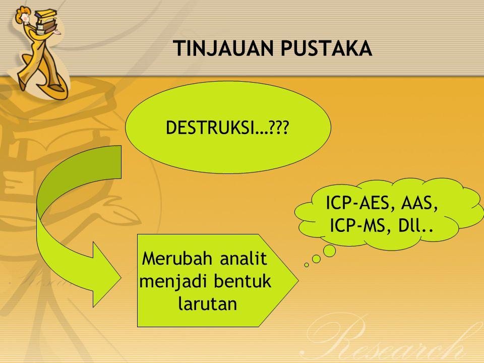 TINJAUAN PUSTAKA DESTRUKSI… ICP-AES, AAS, ICP-MS, Dll..