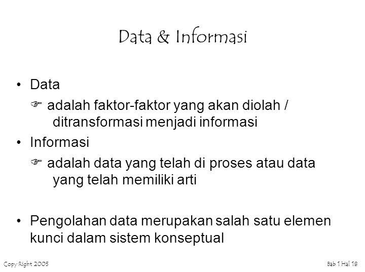 Data & Informasi Data.  adalah faktor-faktor yang akan diolah / ditransformasi menjadi informasi.